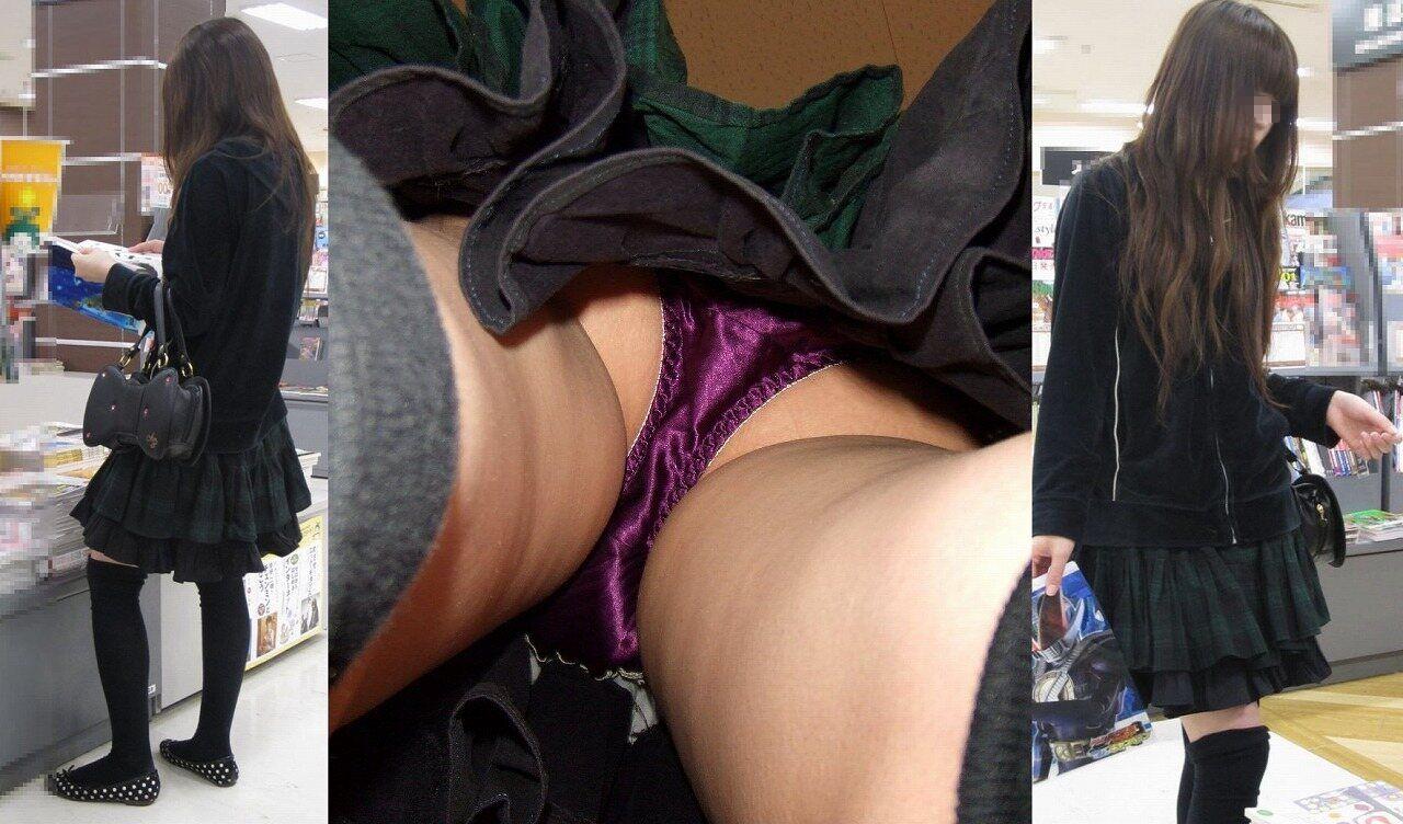 サテン系パンツを履いた素人の逆さ撮りパンチラ画像(20枚)