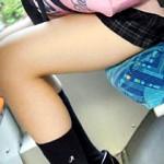 【JK太もも画像】電車内でパンツがギリギリ見えないミニスカを履いた女子校生の太もも接写撮り盗撮
