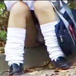 【パンチラ盗撮動画】透け透け派手パンツ履いたミニスカ女子校生のしゃがみパンチラで陰毛丸見えw