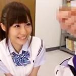 【神野はづき動画】最高に可愛いポニーテール女子校生がデカチンを即尺フェラ顔射www