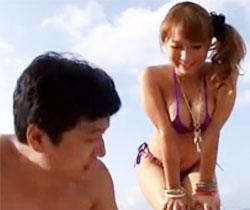 【倉多まおAV動画】ビーチで逆ナンパしてきたHカップ黒ギャルと青姦ww高速騎乗位に負けて暴発中出しww